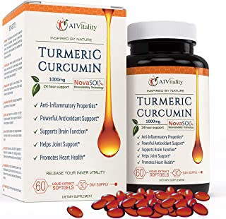 Turmeric Curcumin NovaSOL Softgels More Potent Than Bioperine - Inflammation, Joint Pain Relief Support Supplement - 185x Bioavailable Than Turmeric Black Pepper Capsules � Best Natural Extract Pills