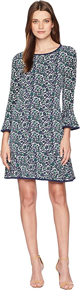 Woodblock Vine Flounce Dress