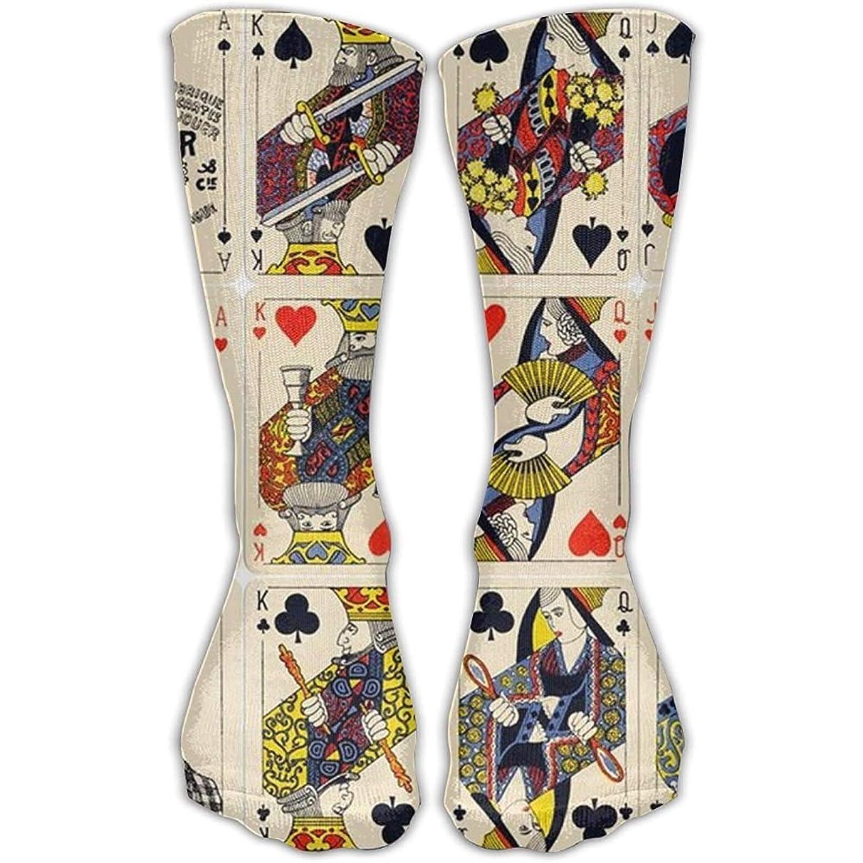 Cute Printed Poker Cards Girls Dress Socks Womens Crew Socks