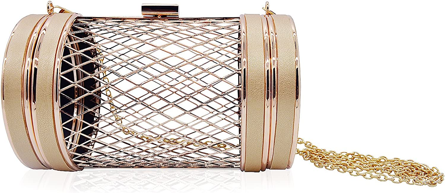 Miuco Women Chain Crossbody Bags Metal Hollow Out Clutch Cylinder Handbags