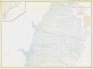 Map - United States - East Coast Coastal Slope East Of Chesapeake Bay Entrance, USA, 1938 NOAA Bathymetric Map - Vintage Wall Art - 59in x 44in