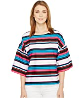 Vince Camuto - Drop Shoulder Ruffle Sleeve Del Rio Stripe Blouse