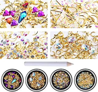 c806fd0a9 iFancer 4 Boxes Nail Art Rhinestones Gems Diamond Crystal Beads Nail Art  Supplies Manicure DIY Kit