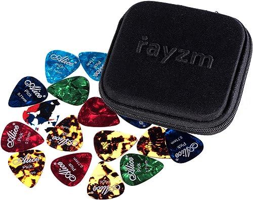 Rayzm Guitar Médiators 40pcs dans un étui en tissu durable, Premium Médiators en celluloïde assortis pour guitare Bas...