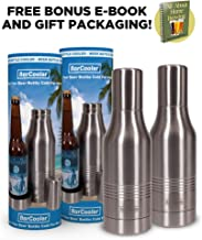Beer Bottle Cooler - Double Wall Stainless Steel Beer Holder Keeps Your Beer Colder. Great Fathers Day Gift for Beer Lovers ! Fits 12oz Beer Bottles. Includes BONUS E-Book + Gift Box. Twin Pack