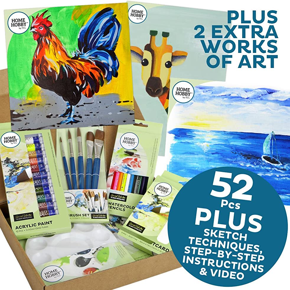 HomeHobby 14403 Acrylic Rooster & Two Works of Art Kit 52-Piece Assorted Set