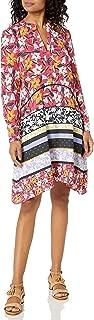 Women's Long Sleeve Mixed Floral Print Shirt Dress