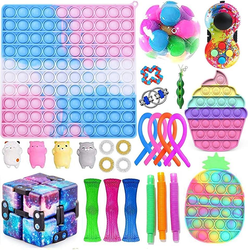 Fidget Toy Set, Big Size Fidget Pack, Anti Stress Pop Bubble Sensory Fidget Toy with Pop Anxiety Tubes Fidget Spielzeug Set für Kinder
