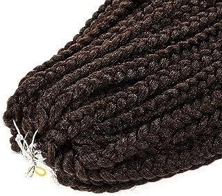 12 18 22 inch Box Braids Crochet 12 Strands Synthetic Braiding Hair Burgundy Micro Box Braids Crochet Hair Extensions,#2,22inches,1Pcs/Lot