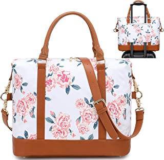 BLUBOON Women Weekender Bag Overnight Duffel Bag Travel Luggage Tote with Shoulder Strap (0041-White Rose)