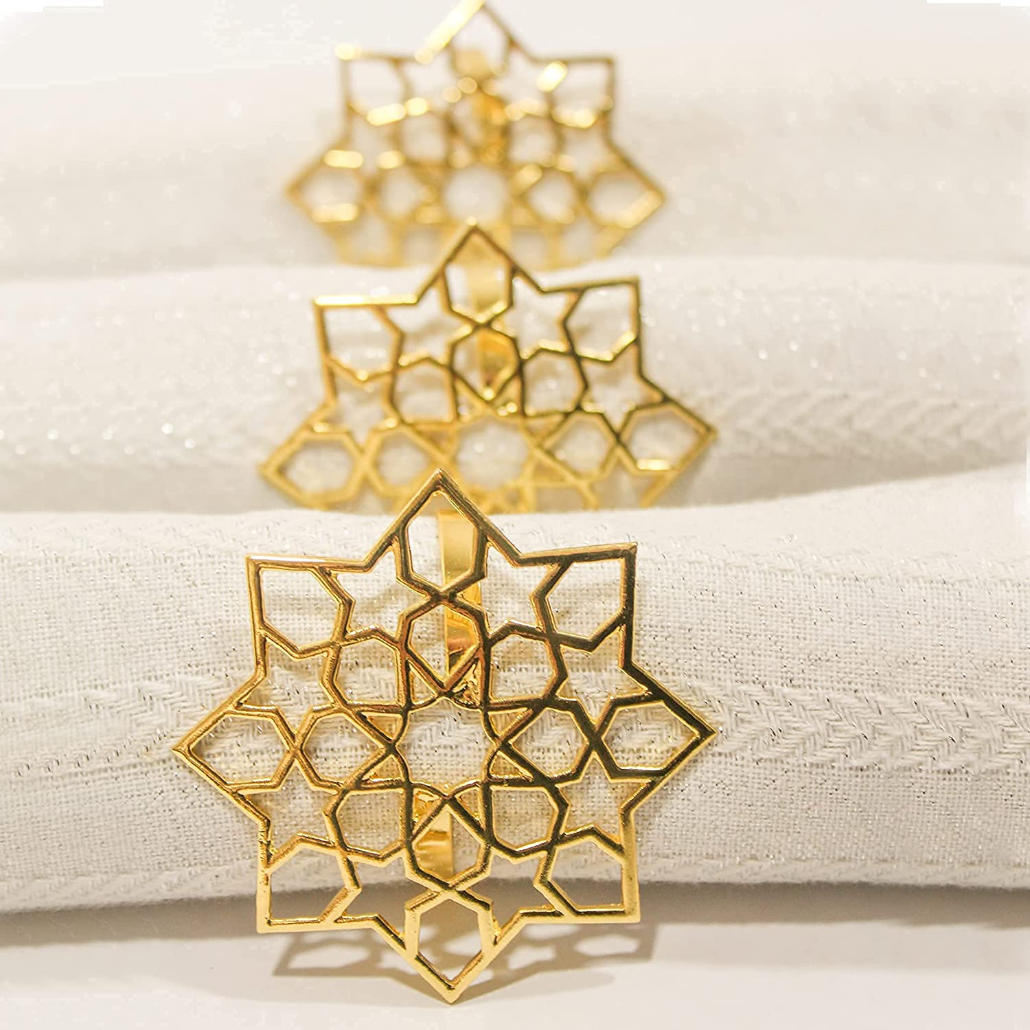 Suqoon Gold Napkin Rings Set of In Cheap super special price a popularity Party 6 Décor. Dinner Table