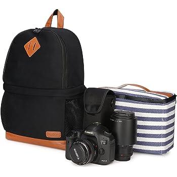 "Kattee Mens' Canvas SLR DSLR Camera Backpack 15.7"" Laptop Bag for Canon Nikon with Waterproof Rain Cover Tripod Holder"