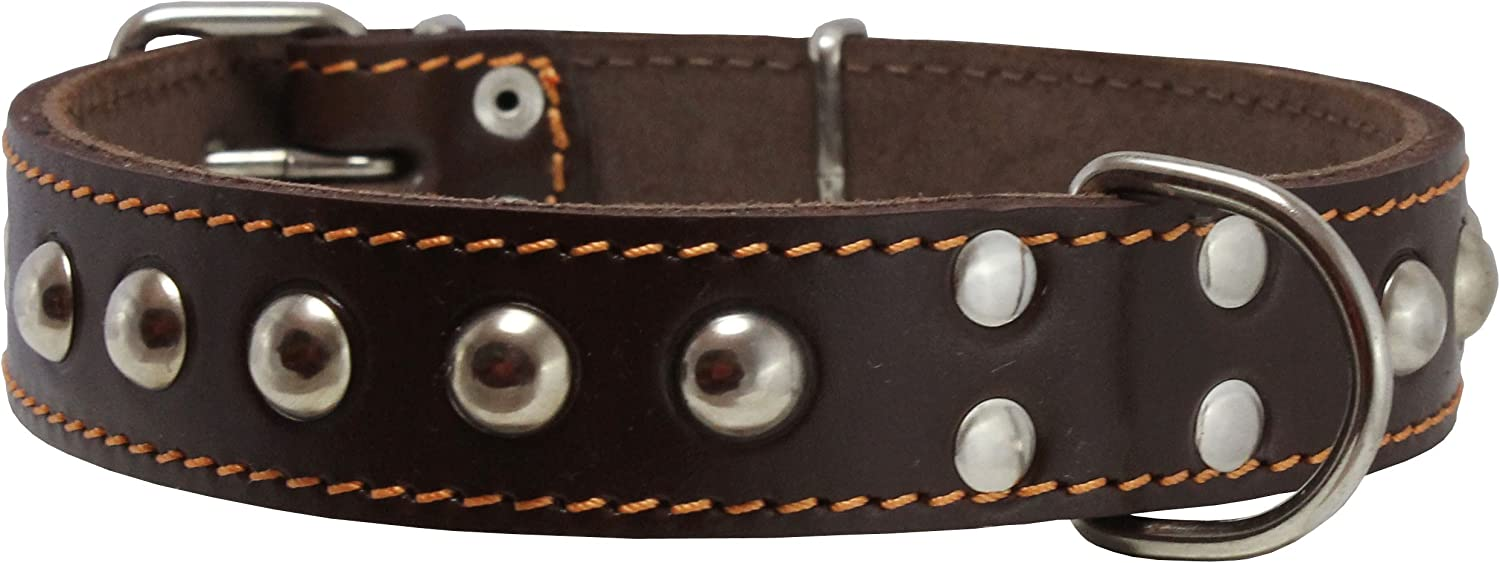 Genuine 1.25  Wide Thick Leather Studded Dog Collar. Fits 15 20  Neck, Medium Breeds.