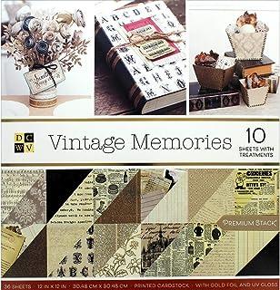 DCWVE DCWV Premium Stack-12 x 12-Double Side-Vintage Memories-Gold Foil & UV Gloss 36 Seat PS-005-00640, Multicolor