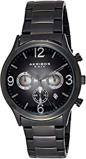 Akribos XXIV Men's Black Chronograph Watch - Gray Ombre Sunburst Effect Dial - Luminous Hands and Markers - Stainless Stee...
