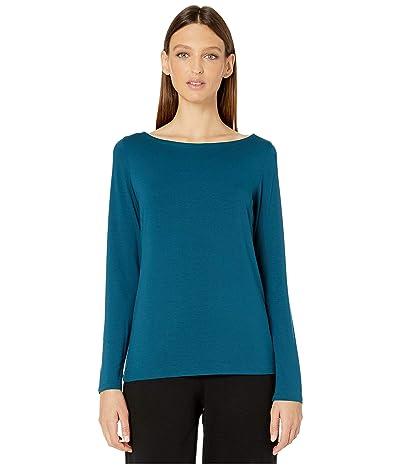 Eileen Fisher Bateau Neck Slim Top (Blue Spruce) Women