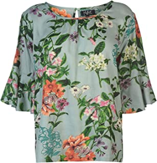 NVME Blair V Floral T-Shirt Womens Green Floral Top Tee Shirt Casual Wear