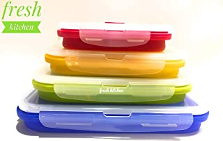 FRESH KITCHEN Folding Food Containers- Silicone BPA Free- Leak proof Airtight lids- microwave freezer safe- lunch bento box storage collapsible stackable meal prep for work school adults kids and baby