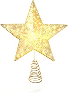 Varmax Christmas Tree Toppers Lighted Christmas Decorations 9.4 inches, Gold