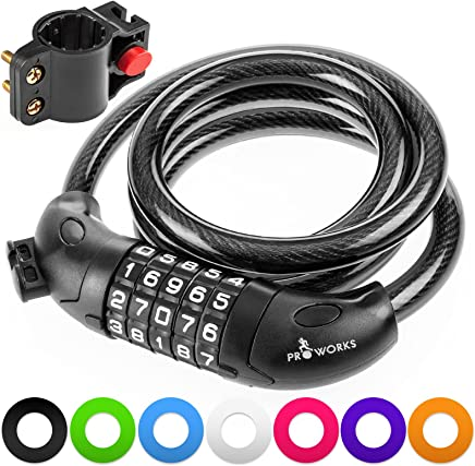 Proworks Security Bike Lock | 5-Digit Combination Lock with Galvanized Steel Cable for Road, Mountain or BMX Bicycle