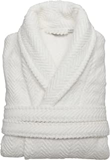 Linum Home Textiles Unisex Herringbone Weave Bathrobe 100% Authentic Turkish Cotton Luxury Spa Hotel Collection, L/XL, White