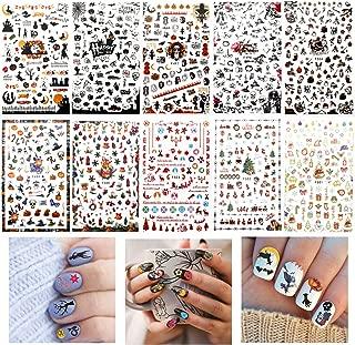 Konsait 1100+pcs Halloween and Christmas 3D Nail Stickers, Self-Adhesive Nail Decals Nail Art Designs for Women Girls Nail Decorations, Skull, Bat, Pumpkin, Santa Claus, Reindeer, Snowflake, Snowman