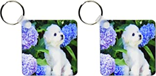 3dRose Adorable Bichon Frise Puppy Among Hydrangeas - Key Chains, 2.25 x 4.5 inches, set of 2 (kc_80886_1)
