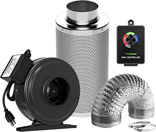 new arrival VIVOSUN Air Filtration Kit: 4 Inch 203 CFM Inline outlet sale Fan with Cordless outlet sale Speed Controller, 4 Inch Carbon Filter and 8 Feet of Ducting Combo online sale