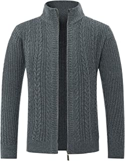 Allthemen Mens Knitted Cardigan Thick Sweater Zip Up Classic Long Sleeve Cardigans Stand Collar Casual Warm Sweatshirt