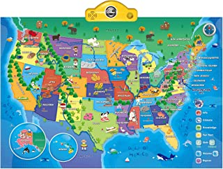 Interactive Talking USA Map for Kids TG660 - Push, Learn and Discover Over 500 Facts About The USA – Fun Educational Interactive Learning Toy Gift for Boys & Girls Aged 5,6,7,8,9,10 - by ThinkGizmos