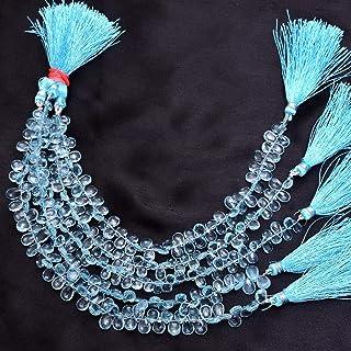 Jaipur Gems Mart Cuentas Briolette de Piedras Preciosas AAA + Aguamarina | Briolette de Pera Aguamarina 8x6 mm | Briolette...