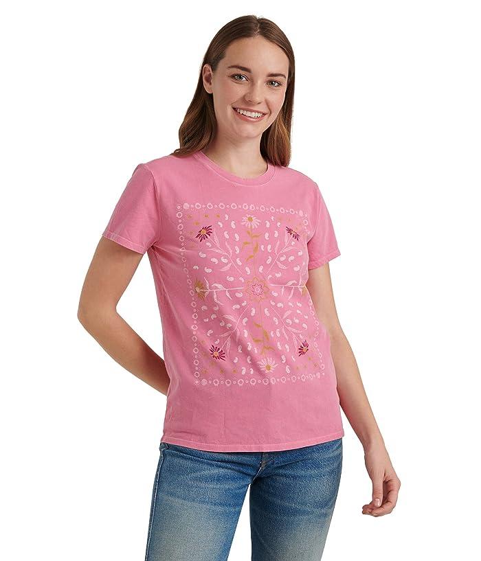 Lucky Brand  Short Sleeve Crew Neck Framed Bandana Tee (Pink Multi) Womens Clothing