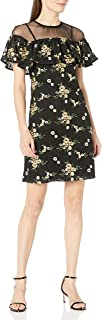 Donna Morgan Women's Short Sleeve Embroidered Lace Dress