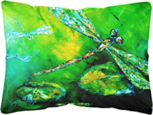 Caroline's Treasures MW1114PW1216 Dragonfly Summer Flies Canvas Fabric Decorative Pillow, 12H x16W, Multicolor