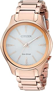 Women's Eco-Drive Japanese-Quartz Watch with Stainless-Steel Strap, Pink (Model: EM0593-56A)