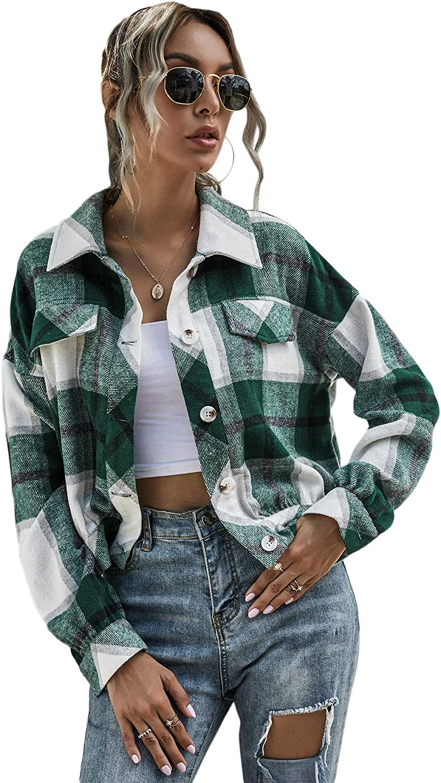 SweatyRocks Womens Plaid Print Single Breasted Long Sleeve Jacket Coat