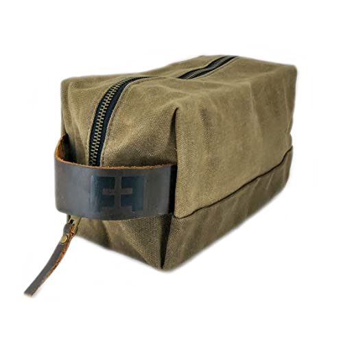the DOPP KIT   Durable Waxed Cotton Canvas shave and toiletries bag with  leather handle by 7ff5af38c6