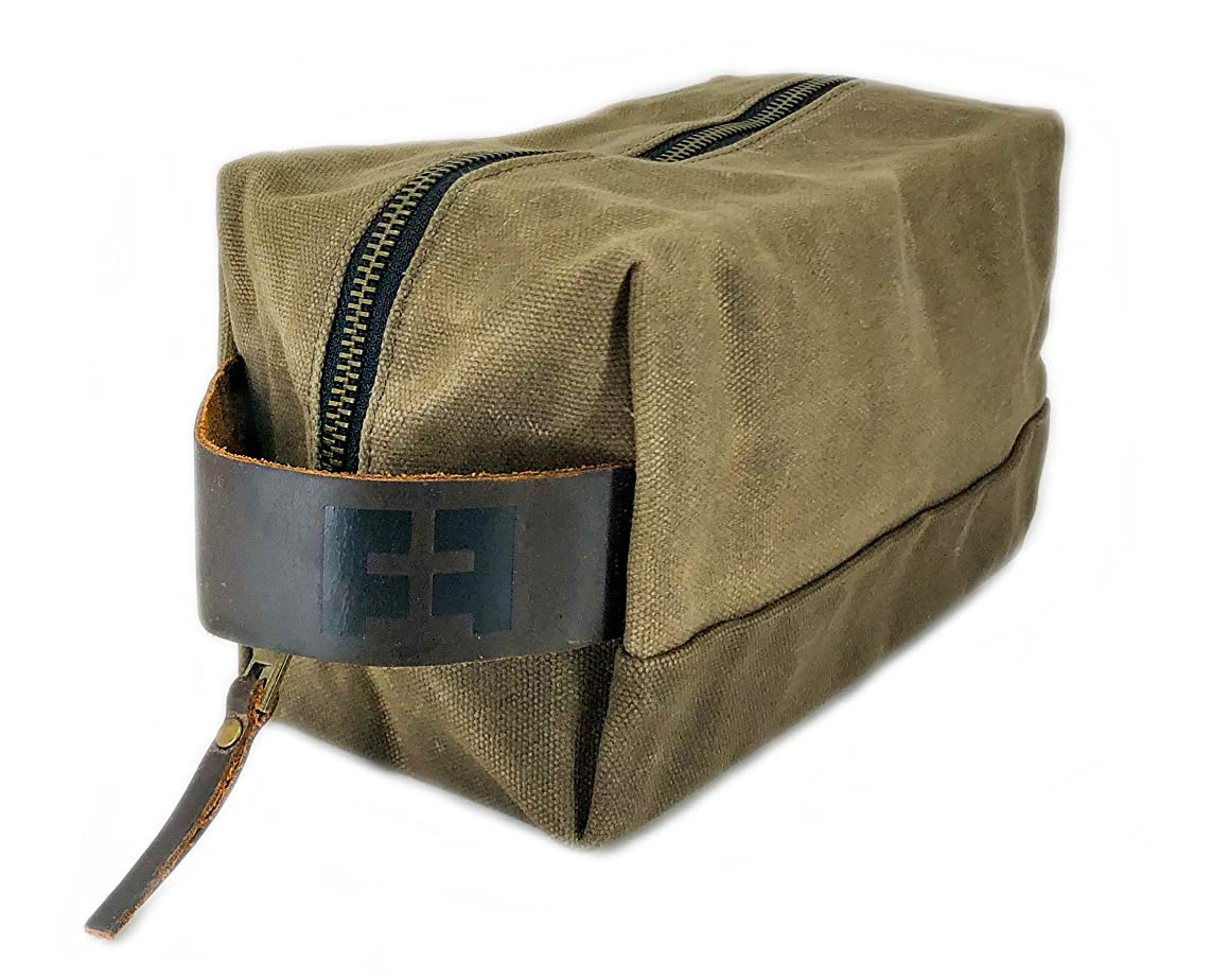 the DOPP KIT | Durable Waxed Cotton Canvas shave and toiletries bag with leather handle by Fat Felt