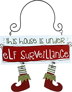 Party Explosions This House is Under Elf Surveillance Hanging Doorknob Sign