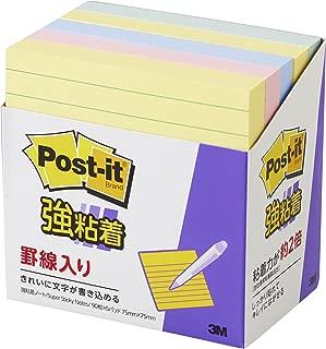ポストイット 強粘着 付箋 罫線入り ノート パステルカラー 75×75mm 90枚×5パッド 630-5SSAP