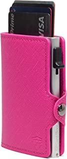 Card Blocr Credit Card Wallet RFID Blocking Slim Minimalist Card Holder Leather Carbon Fiber or Saffiano Covers for Men or Women (Saffiano Pink PU Leather)
