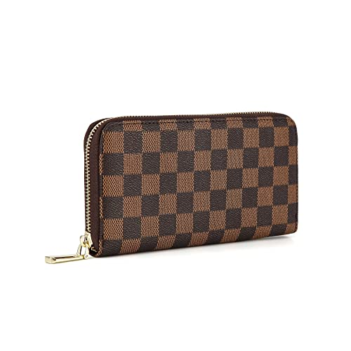 d33d615eec31 Daisy Rose Women s Checkered Zip Around Wallet and Phone Clutch - RFID  Blocking with Card Holder