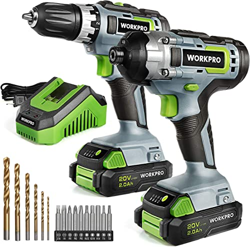 wholesale WORKPRO 20V popular Cordless Drill Combo Kit, Drill Driver and Impact Driver with popular 2x 2.0Ah Batteries and 1 Hour Fast Charger online