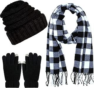 Winter Warm Knitted Scarf Beanie Hat and Gloves Set Men & Women's Soft Stretch Hat Scarf and Mitten Set