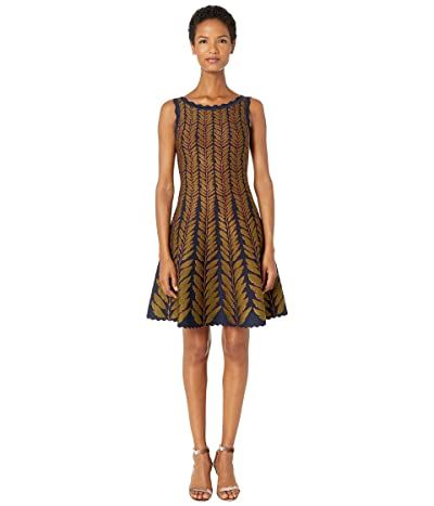 Zac Posen Leaf Jacquard Sleeveless Fit and Flare Knit Dress (Navy/Olive Green) Women