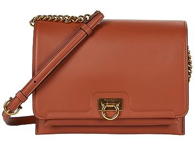 Salvatore Ferragamo Gancio Flap Crossbody Medium (Siena Tan) Handbags