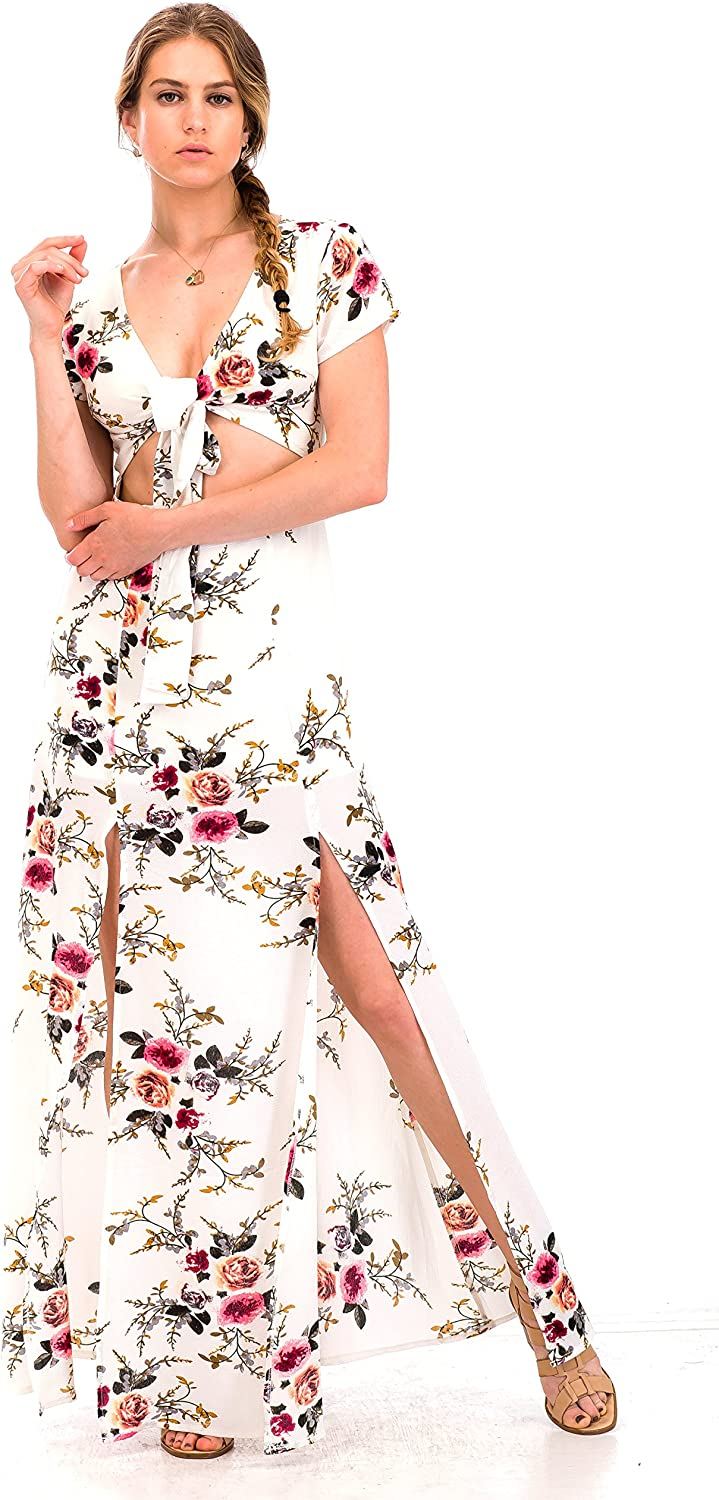 Malibu Days Short Sleeve Floral Cut Out Maxi Bodycon Swing Lace Backless Dress