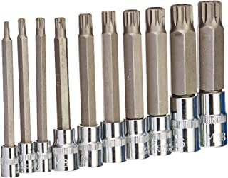 J&R Quality Tools 4-Inch Extra Long XZN Triple Square Spline Bit Socket Set, S2 Steel | 10-Piece Set
