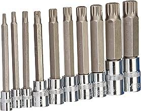 J&R Quality Tools 4-Inch Extra Long XZN Triple Square Spline Bit Socket Set, S2 Steel | 10-Piece Set