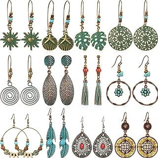 12 Pairs Bohemian Earrings Vintage Dangle Earrings Turquoise Metal Hollow Pendant Earrings Set for Women Girls (Style Set 2)